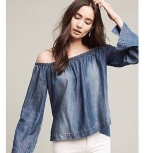 Anthropologie off the shoulder chambray top